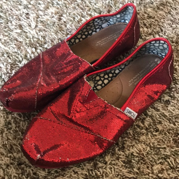 Toms Shoes   Red Glitter Toms   Poshmark